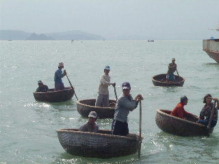 Bamboo basket boats in Vietnam